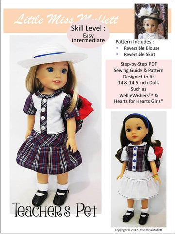 "Teacher's Pet 14-14.5"" Doll Clothes Pattern"