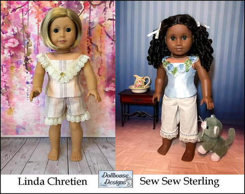18 inch doll pdf sewing pattern pantaloons and camisole undergarments designed to fit American Girl