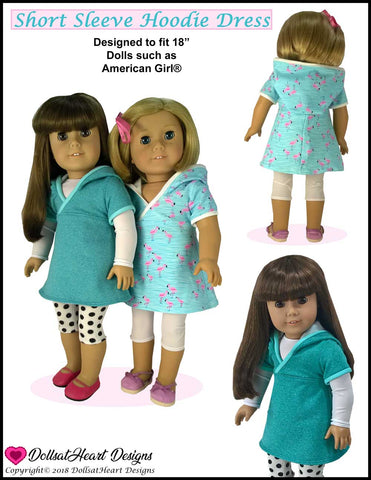 "Short Sleeve Hoodie Dress 18"" Doll Clothes Pattern"