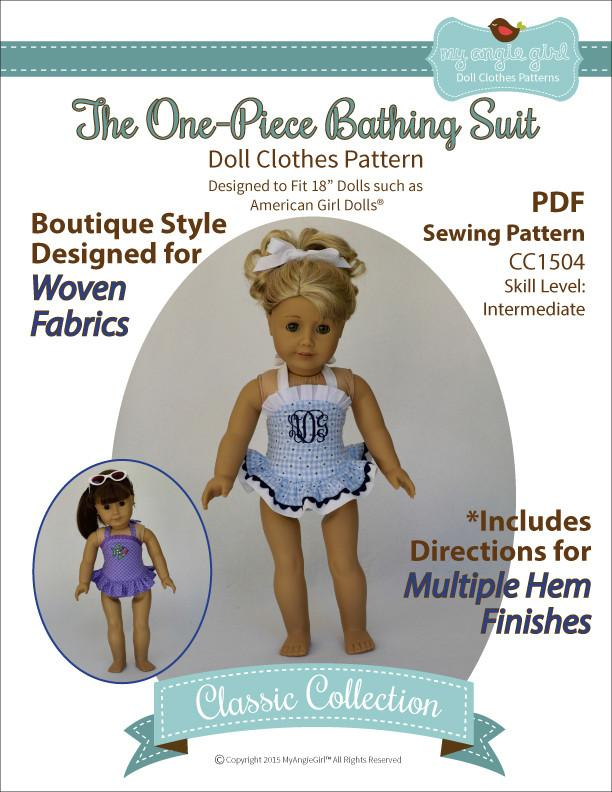 My Angie Girl The One-Piece Bathing Suit Doll Clothes Pattern 18 ...