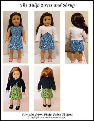 "Tulip Dress and Shrug 18"" Doll Clothes Pattern"