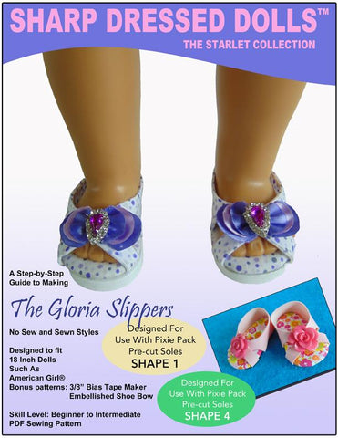 "Sharp Dressed Dolls Shoes The Gloria Slippers 18"" Doll Shoe Pattern Pixie Faire"