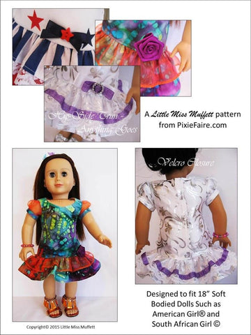 "Time to Celebrate 18"" Doll Clothes Pattern"