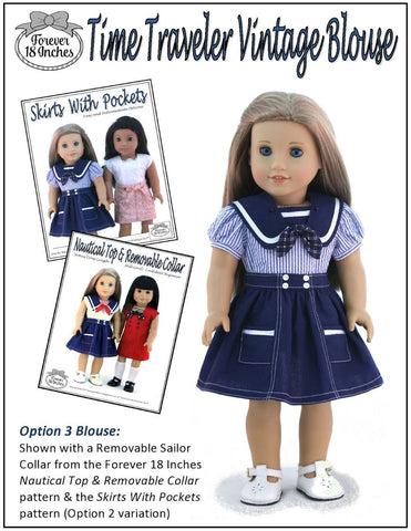 pdf doll clothes sewing pattern Forever 18 Inches Time Traveler vintage blouse designed to fit 18 inch American Girl dolls
