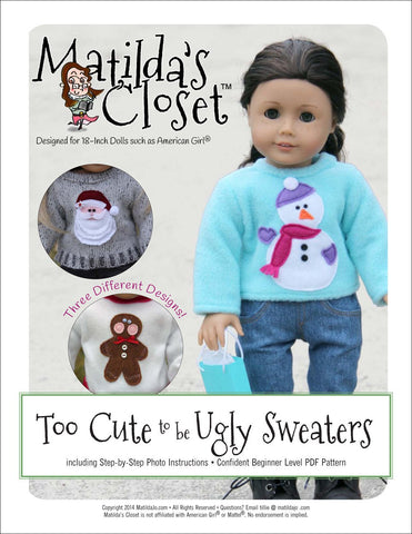 "Matilda's Closet 18 Inch Modern Too Cute to be Ugly Sweaters 18"" Doll Clothes Pixie Faire"