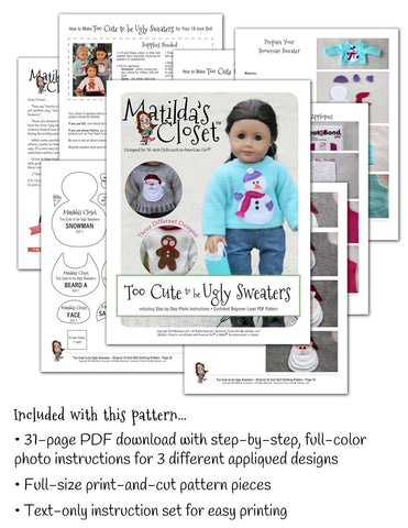 "Too Cute to be Ugly Sweaters 18"" Doll Clothes"