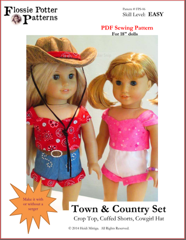 "Flossie Potter 18 Inch Modern Town and Country Set 18"" Doll Clothes Pattern Pixie Faire"