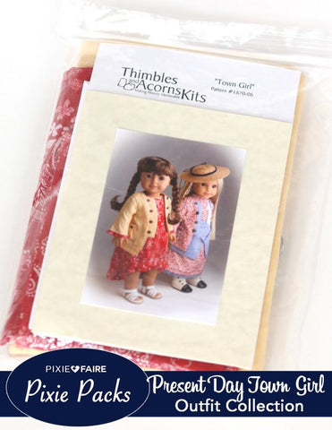 Pixie Packs - Town Girl Present Dress Thimbles and Acorns Collection