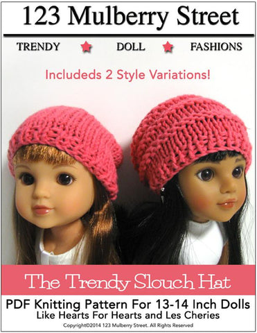 Trendy Slouch Hat Knitting Pattern for Les Cheries and Hearts for Hearts Girls Dolls