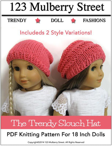 123 Mulberry Street Knitting Trendy Slouch Hat Knitting Pattern Pixie Faire