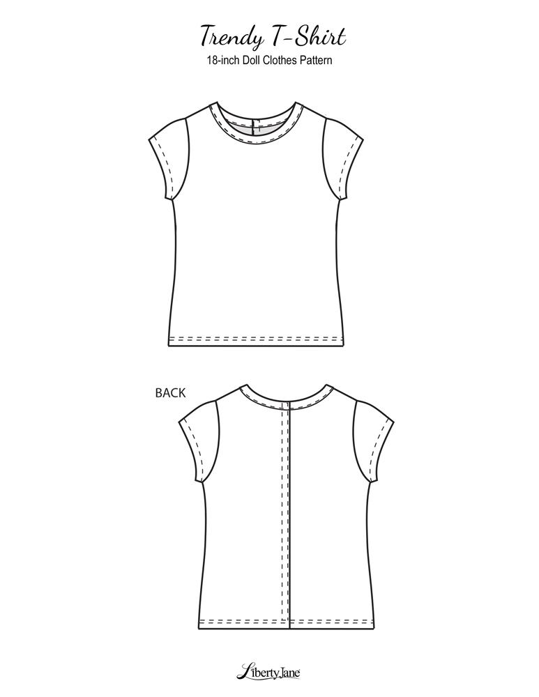 picture relating to 18 Inch Doll Clothes Patterns Free Printable titled Absolutely free T-Blouse 18 inch Doll Dresses Habit PDF Fast