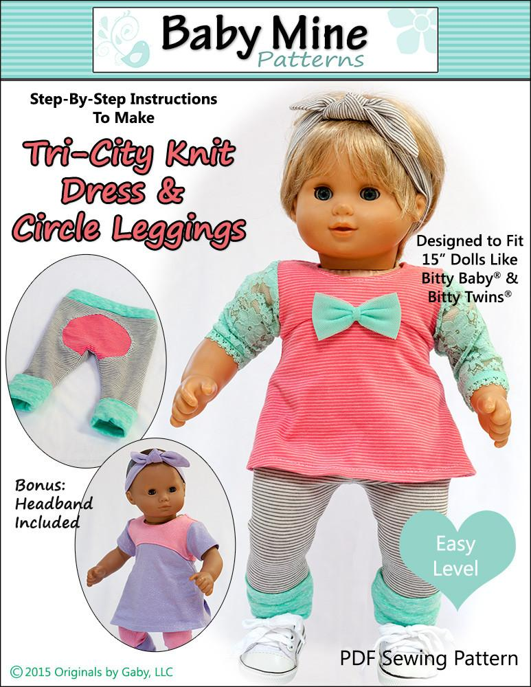 Baby Mine Tri City Knit Dress And Circle Leggings Doll Clothes