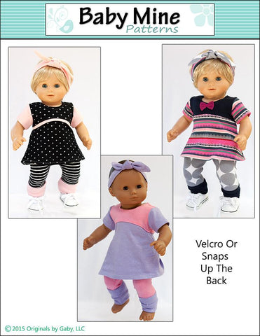 "Tri-City Knit Dress & Circle Leggings 15"" Baby Doll Clothes Pattern"