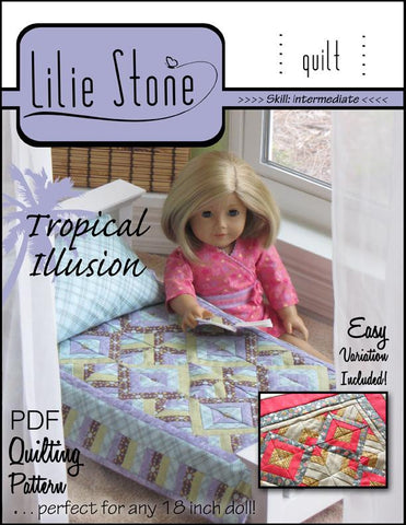 Lilie Stone 18 Inch Modern Tropical Illusion Quilting Pattern Pixie Faire