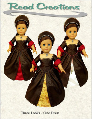 "3 Looks-In-One Tudor Ensemble 18"" Doll Clothes Pattern"
