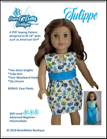 "Tulippe Dress 18"" Doll Clothes Pattern"