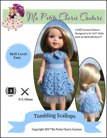 Tumbling Scallops Crochet Pattern For WellieWishers Dolls