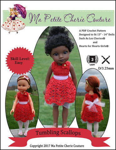 "Tumbling Scallops 13-14"" Doll Clothes Crochet Pattern"