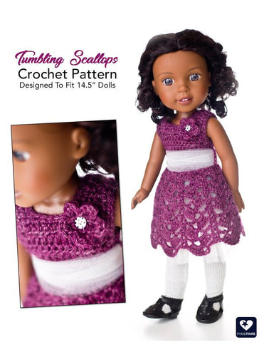 "Tumbling Scallops 14.5"" Doll Clothes Crochet Pattern"