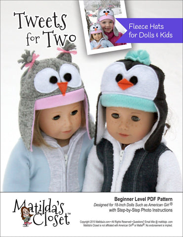 Matilda's Closet 18 Inch Modern Tweets For Two Fleece Hats for Dolls and Kids Pixie Faire