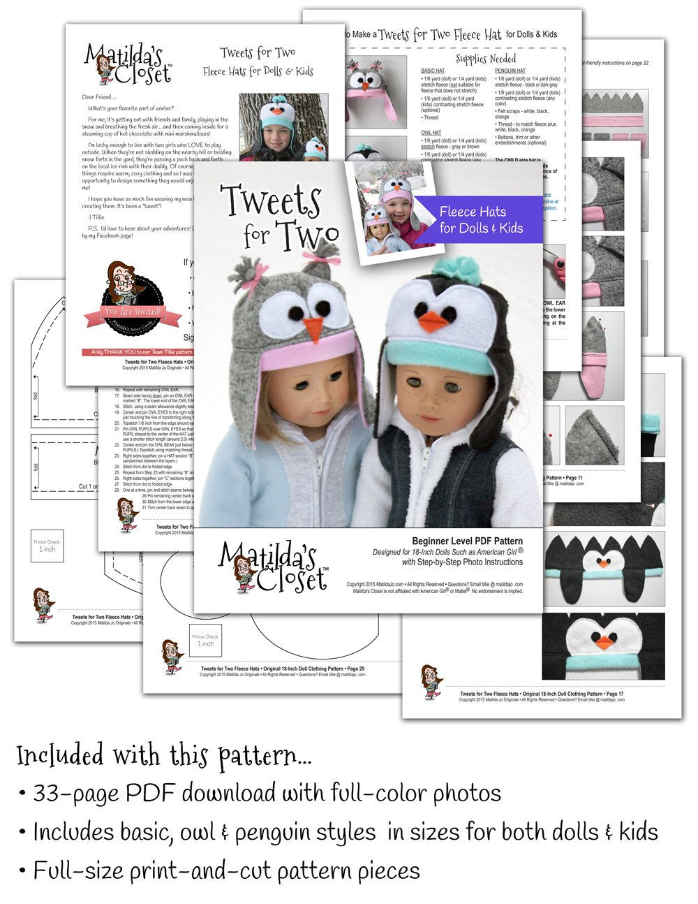 3f831d1333c Matilda s Closet Tweets For Two Fleece Hats for Dolls and Kids Doll ...