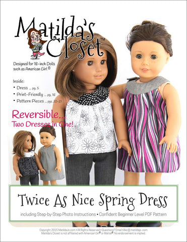 "Matilda's Closet 18 Inch Modern Twice As Nice Spring Dress 18"" Doll Clothes Pattern Pixie Faire"