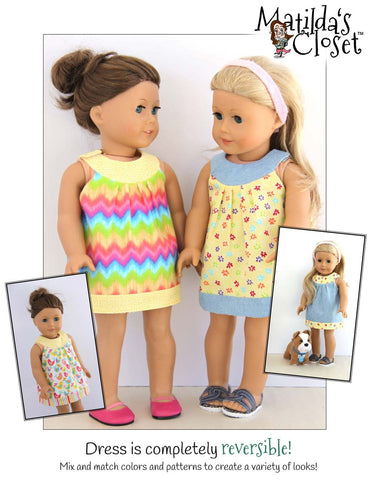 "Twice As Nice Spring Dress 18"" Doll Clothes Pattern"