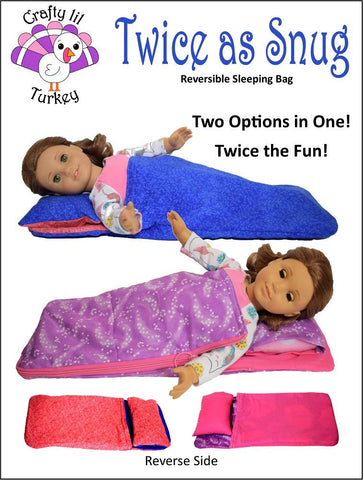 "Twice As Snug Reversible Sleeping Bag 18"" Doll Bedding Pattern"