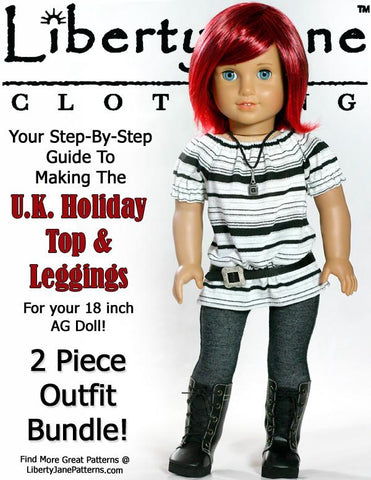 "U.K. Holiday Outfit 18"" Doll Clothes Pattern"