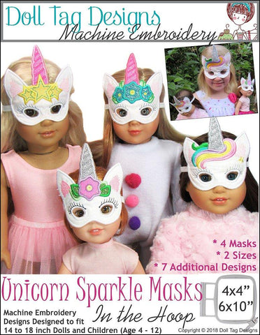 Doll Tag Clothing Machine Embroidery Design Unicorn Sparkle Masks Machine Embroidery Designs Pixie Faire