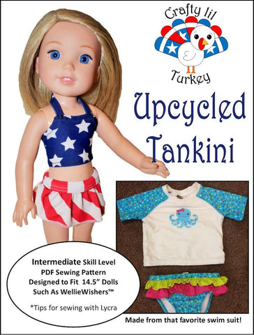 PDF doll clothes sewing pattern Crafty Lil Turkey Upcycled Tankini swimsuit for 14.5 inch WellieWishers dolls
