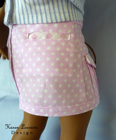 pdf doll clothes sewing pattern Karen Lorraine Design Utility Skirt designed to fit 18 inch American Girl dolls