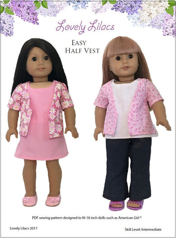 "Lovely Lilacs 18 Inch Modern Easy Half Vest Dress or Shirt 18"" Doll Clothes Pattern Pixie Faire"