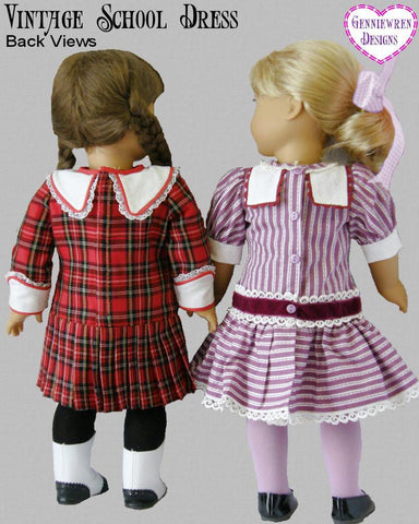 "Vintage School Dress 18"" Doll Clothes Pattern"