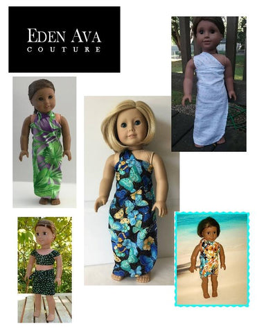 "Eden Ava 18 Inch Modern Tropical Wrap and Tie Sarong Dress 18"" Doll Clothes Pattern Pixie Faire"
