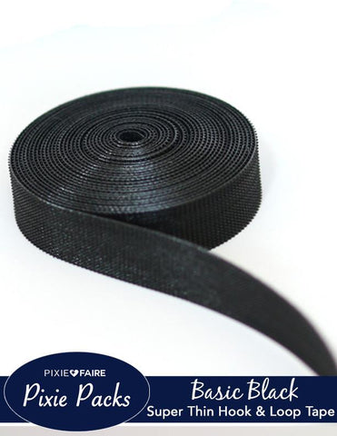 "Pixie Packs 1/2"" Wide Super Thin Velcro® Brand Tape - Basic Black"