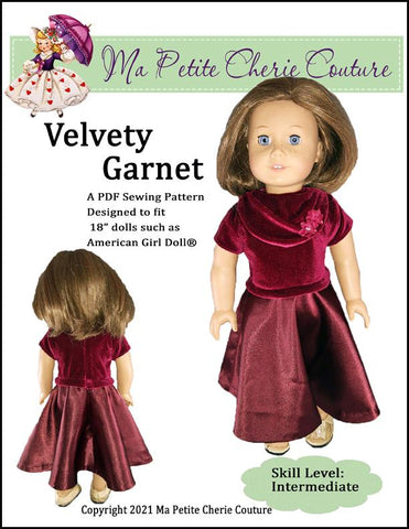 "Mon Petite Cherie Couture 18 Inch Modern Velvety Garnet 18"" Doll Clothes Pattern Pixie Faire"