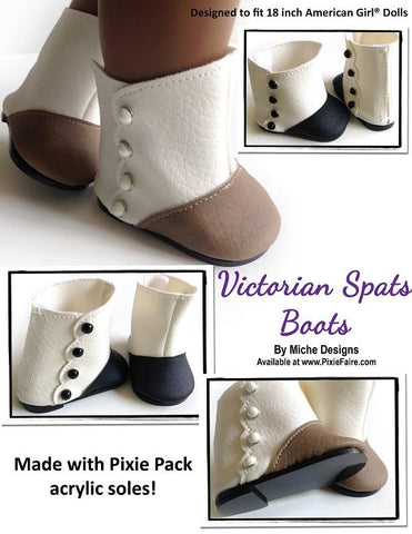 "Victorian Spats Boots 18"" Doll Shoe Pattern"