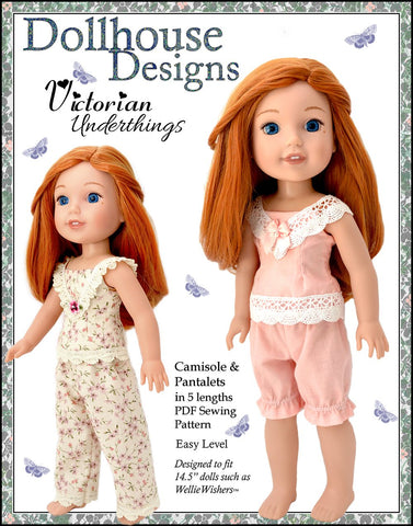 PDF doll clothes sewing pattern Victorian underthings camisole pantalets designed to fit American Girl