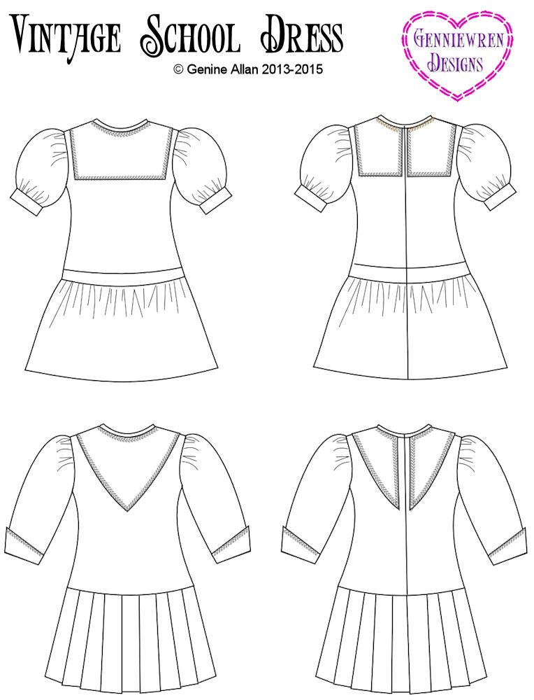 Genniewren Designs Vintage School Dress Doll Clothes