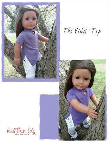 "Love From Lola 18 Inch Modern The Violet Top 18"" Doll Clothes Pattern Pixie Faire"