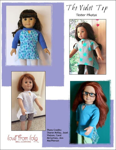 pdf doll clothes sewing pattern tunic top designed to fit American Girl