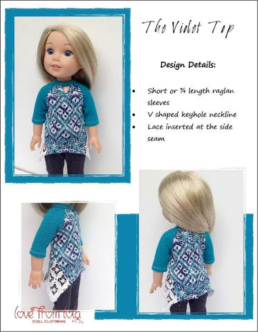 PDF sewing pattern trendy violet top designed to fit WellieWishers doll