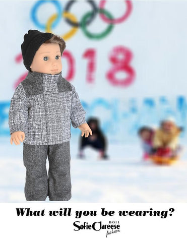 "Sofie's Winter Sports Outfit 18"" Doll Clothes Pattern"
