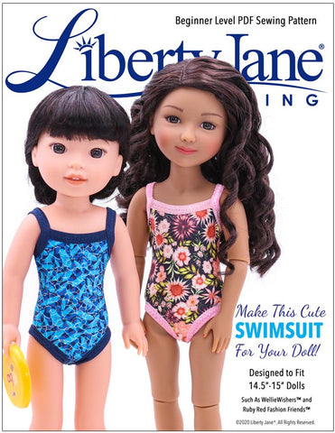 "Liberty Jane WellieWishers FREE Swimsuit 14.5""-15"" Doll Clothes Pattern Pixie Faire"