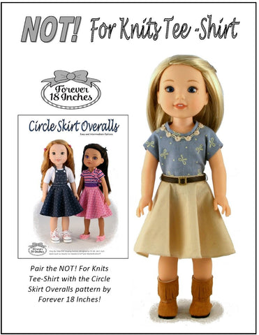 "NOT! For Knits Tee-Shirt 14.5"" Doll Clothes Pattern"