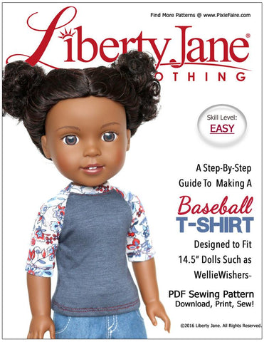 "Liberty Jane WellieWishers Baseball T-Shirt 14.5"" Doll Clothes Pattern Pixie Faire"