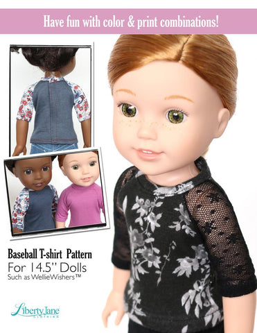 "Baseball T-Shirt 14.5"" Doll Clothes Pattern"