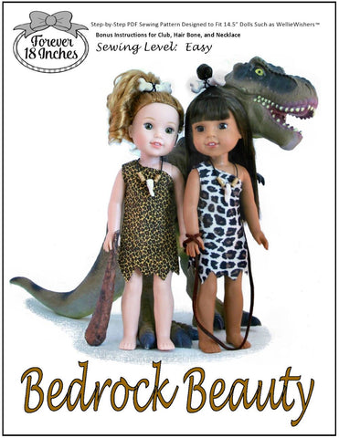 "Forever 18 Inches WellieWishers Bedrock Beauty 14.5"" Doll Clothes Pattern Pixie Faire"