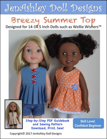 "Breezy Summer Top 14-14.5"" Doll Clothes Pattern"